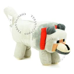 """Minecraft Games Tamed Wolf Red Collar Plush Doll 13"""" Stuffed"""