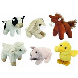 Blue Frog Toys Pack Of 6 Mini Farm Animal Soft Cuddly Toys -
