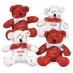 "Fun Express Mini Hugs & Kisses Stuffed Bears  Plush. 4"" Red"