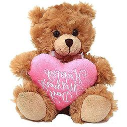 Plushland Mocha Bear, Holding a Heart in Pink Printed Happy