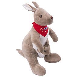 Aminiture Mom Kangaroo with Baby Plush Stuffed Animal Dolls