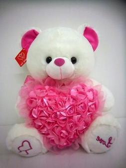 Musical Teddy Bear with Pink Roses Heart  Great Gift Idea fo