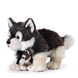 NAT & JULES  Wolf Mom & Pup Plush Toy - NWT - Demdaco - Anim