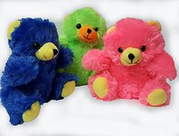 Plush family's neon colors 6 inch teddy bears pack of 3