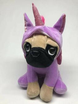 """New 12"""" Unicorn Pug Plush Soft Purple Pink Stuffed Animal To"""