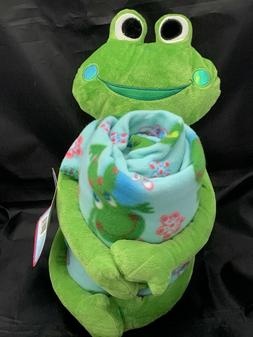 New American Kids Frog Plush Fleece Blanket Set Travel Stuff
