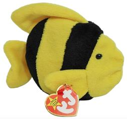 "New! Ty Beanie Baby Babies Bubbles The Fish 6"" Plush Stuffed"