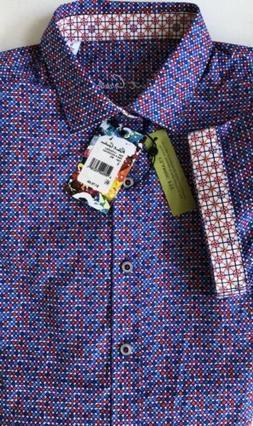 NEW Robert Graham Clydesdale Purple Multi Color Polka Dot Sh