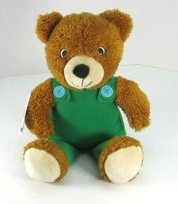 "NEW Kohls Cares PLUSH BEAR Corduroy 14"" Green Overalls Stuff"