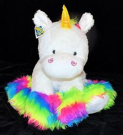 "New Large Jumbo 24"" The Petting Zoo Plush Rainbow White Unic"