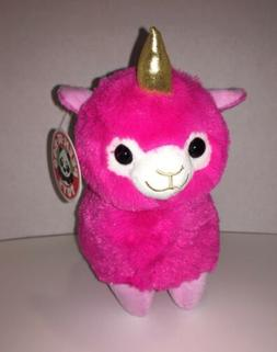 "New! Llama Corn 8"" Pink Plush Unicorn Llama Stuffed Animal"