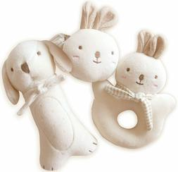new organic cotton baby rattle 3pc set