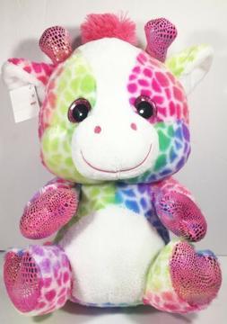 New Rainbow Giraffe Stuffed Animal 14in Plush BIG Valentines