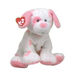 New! Rare Ty Pluffies Baby Pups Pink White Plush Dog Small /