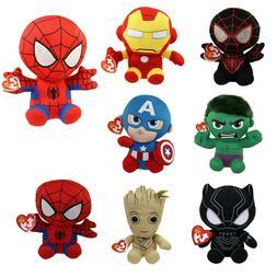 New  Real TY Beanie Baby Avengers Marvel Plush Stuffed Anima