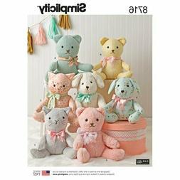"New Simplicity  8716 Stuffed Animals Dog Bear Cat approx 14"""