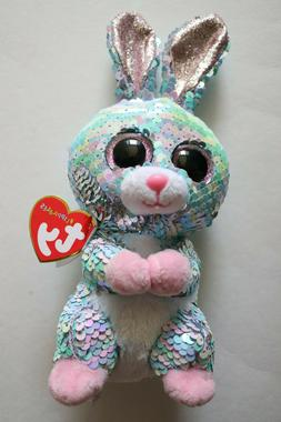 NWT Ty Flippables RAINDROP Bunny Rabbit Sequin Plush Stuffed