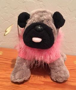 NWT Aurora Pug Dog Plush Stuffed Animal with Pink Sweater &