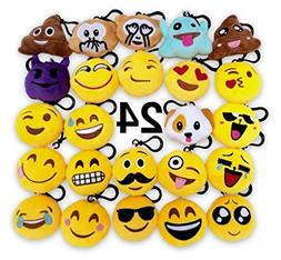 O'Hill 24 Pack Emoji Plush Pillows Mini Keychain Decorations