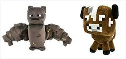"Official Minecraft Overworld 7"" Plush SET of 2: Baby Cow and"