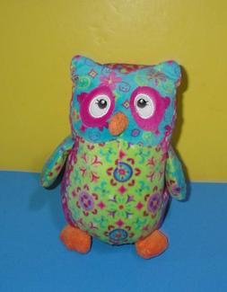 owl floral plush pizzazz pink blue colorful