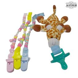 Infant Pacifier - Giraffe.With 3 pack Pacifier Clips - Fits