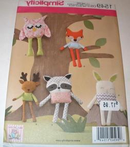 Simplicity Pattern 1549 STUFFED ANIMALS Owl, FOX, Bunny, Rac