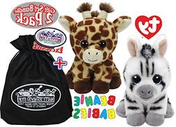 TY Beanie Babies Peaches  & Stripes  Gift Set Bundle with Bo