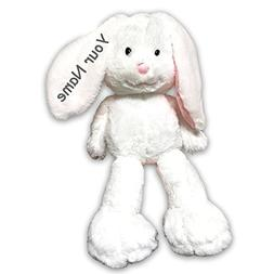 Personalized Fiesta Toy Fuzzy Folk Sitting White Bunny Easte