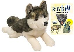 """Phoenix Wolf 14"""" Plush with Wolves Temporary Tattoo Book by"""