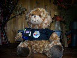 PITTSBURGH STEELERS NFL TEDDY BEAR 12 INCHES BROWN FUR NOVEL