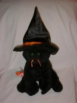 TY Pluffies -MERLIN- Halloween Black Cat- Stuffed Animal So
