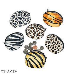 Fun Express Plush Animal Print Coin Purses