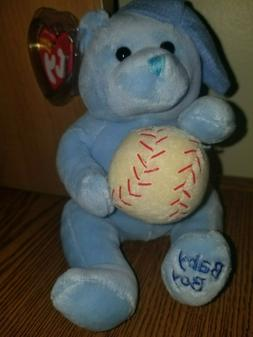 """Plush Ty Beanie  Baby Boy Bear with Hat and Baseball 8"""" L, E"""
