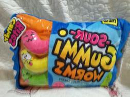 Plush Candy Sour Gummi Worms Candy Pillow Stuffed Animal Zip