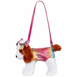 Poochie & Co Girl's Plush Puppy Dog Purse - Rainbow Sparkly