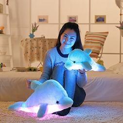 Dreamyth Plush Dolphin LED Pillow Light Soft Cushion Glow 32