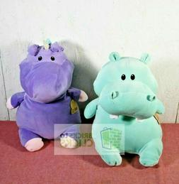 "Animal Adventure Plush Green Hippo & Purple Unicorn 17"" Plus"