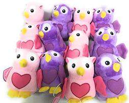 Pack of 12 Plush Heart Print Owl - Valentines Day & Stuffed