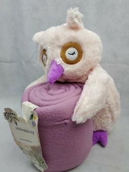 Silver One Plush huggable Animal OWL 50x60 Throw Blanket 2 P