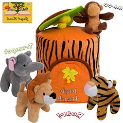Plush Jungle Animals-Toy Set with Carrier | Improved Design