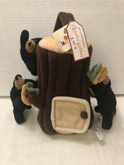 Plush Treehouse Black 3 Bears Tree Finger Puppets Unipak Des