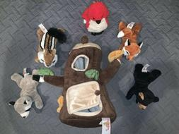 Plush Treehouse with Animals - Five  Stuffed Forest Animals