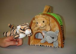 """Plush Wild Animal House with 3 Finger Puppets 8"""""""