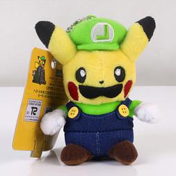 Pokemon Pikachu With Luigi Suit Fluffy Stuffed Animal Doll