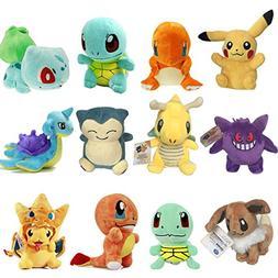 TalentPZ Pokemon Plush Toys 12 Piece Set Soft Plush Figures