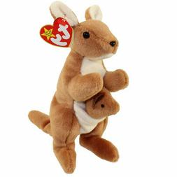 TY Beanie Baby POUCH the Kangaroo 7 inch - MWMTs Stuffed Animal Toy