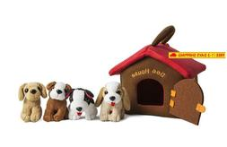 Puppy Dog House Carrier With 4 Barking Puppies Playset