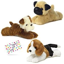 Puppy Dog Plush Bulldog, Beagle, and Pug Mini Flopsie Set wi