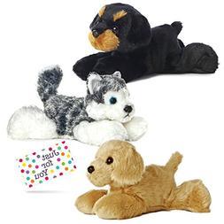 Puppy Dog Plush Husky, Rottweiler, and Golden Retriever Mini